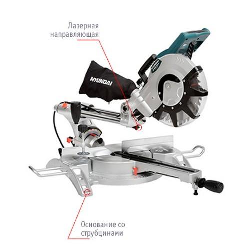 Торцовочная пила 2100 Вт 4000 Об/Мин Диск 255 мм Угол 45-90° Hyundai M 2500-255S
