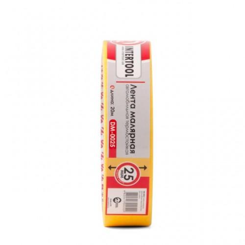 Лента малярная автомобильная термостойкая 25мм, 20м, желтая INTERTOOL DM-0025, DM-0025