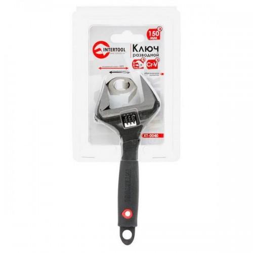 Ключ разводной 150мм, обрезиненная рукоятка, развод губок 34мм, Cr-V INTERTOOL XT-0040