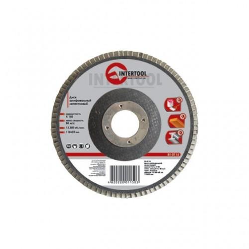 Диск шлифовальный лепестковый 115x22 мм, зерно K40 INTERTOOL BT-0104, BT-0104, Диски шлифовальные для УШМ