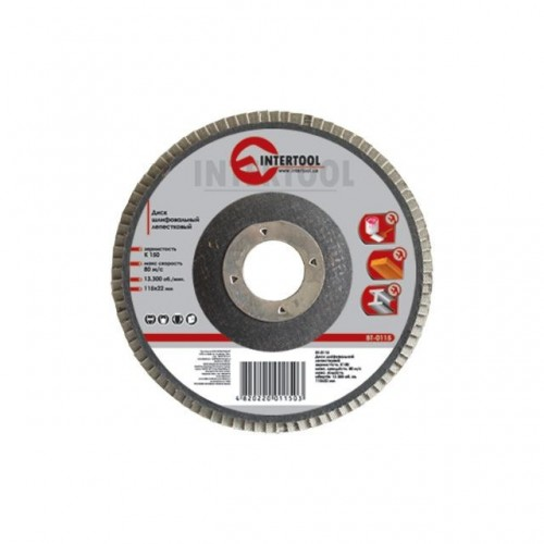Диск шлифовальный лепестковый 115x22 мм, зерно K60 INTERTOOL BT-0106, BT-0106, Диски шлифовальные для УШМ