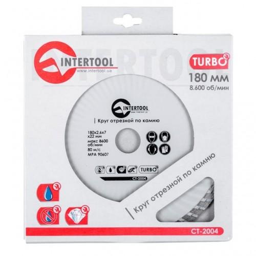 Диск отрезной Turbo, алмазный 180 мм, 16-18% INTERTOOL CT-2004, CT-2004, Диски отрезные с алмазной крошкой для УШМ