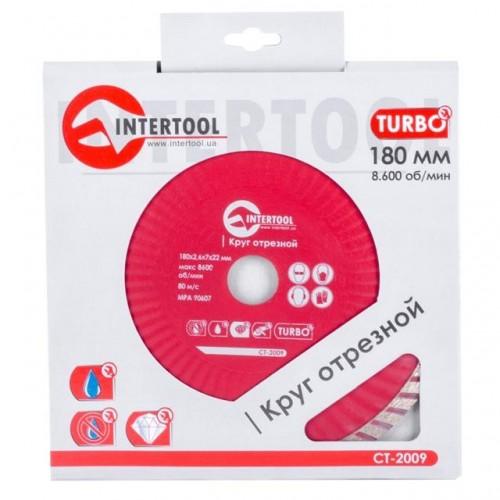 Диск отрезной Turbo, алмазный 180 мм, 22-24% INTERTOOL CT-2009, CT-2009, Диски отрезные с алмазной крошкой для УШМ