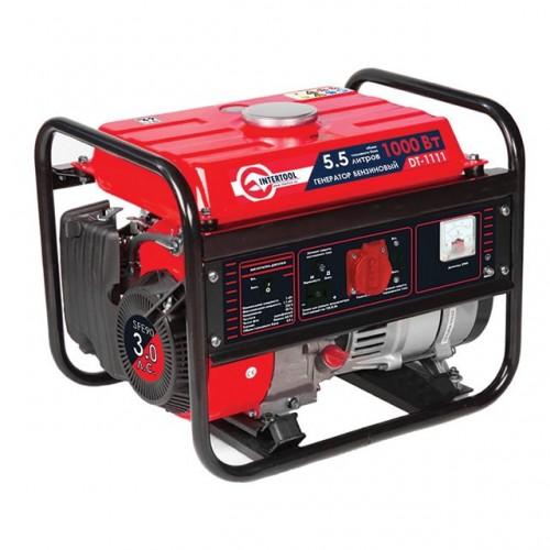 Генератор бензиновый макс. мощн. 1,2 кВт., ном. 1 кВт., 3,0 л.с., 4-х тактный, ручной пуск 26,5 кг. INTERTOOL DT-1111, DT-1111, Генераторы бензиновые