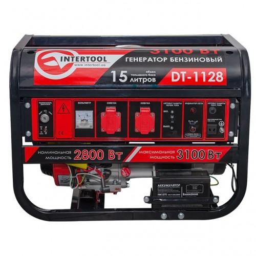 Генератор бензиновый макс мощн 3,1 кВт., ном. 2,8 кВт., 6,5 л.с., 4-х тактный, электрический и ручной пуск 51,7 кг. INTERTOOL DT-1128, DT-1128, Генераторы бензиновые