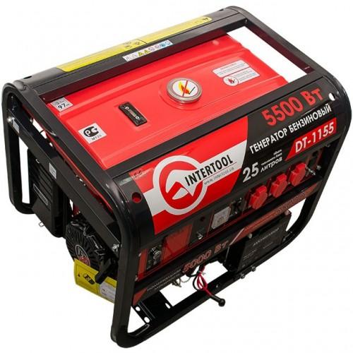 Генератор бензиновый макс. мощн. 6 кВт., ном. 5,5 кВт., 13 л.с., 4-х тактный, электрический и ручной пуск, комплект колес и ручек, 96 кг. INTERTOOL DT-1155, DT-1155, Генераторы бензиновые