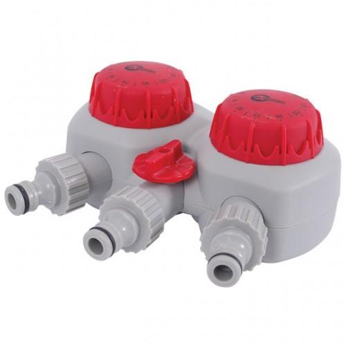 """Таймер для подачи воды с 2-х канальным распределением, 15; 30; 45; 60; 75; 90; 105; 120 мин, три выхода на конектор 1/2""""автоматическое отключение воды INTERTOOL GE-2012"""