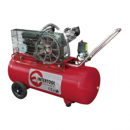 Компрессор 100 л, 4 HP, 3 кВт, 220 В, 8 атм, 500 л/мин, 2 цилиндра INTERTOOL PT-0014, PT-0014