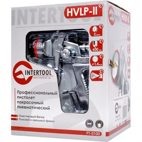 HVLP II Профессиональный краскораспылитель 1,4 мм, верхний пластиковый бачок 600 мл INTERTOOL PT-0100, PT-0100, Краскопульты пневматические HVLP