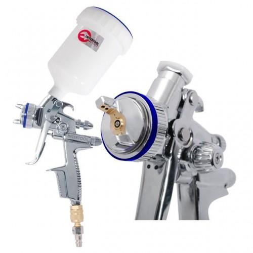 HVLP II Профессиональный краскораспылитель 1,3 мм, верхний пластиковый бачок 600 мл INTERTOOL PT-0105, PT-0105, Краскопульты пневматические HVLP