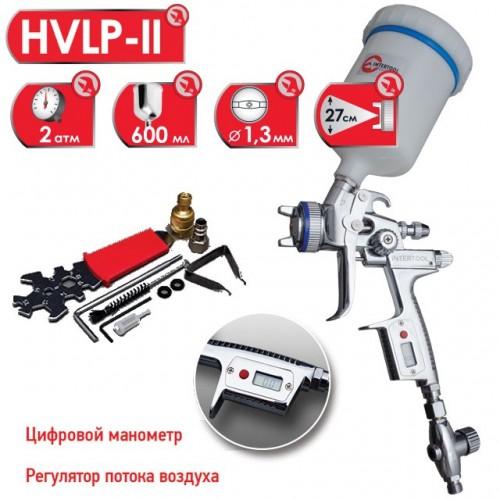 HVLP-II Профессиональный краскораспылитель 1,3 мм, HVLP-II, верхний пластиковый бачок 600 мл INTERTOOL PT-0105D, PT-0105D, Краскопульты пневматические HVLP