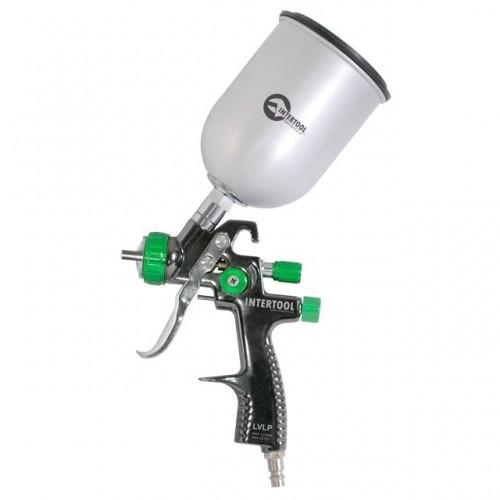 LVLP GREEN NEW Профессиональный краскораспылитель 1,3 мм, верхний металлический бачок 600 мл INTERTOOL PT-0131, PT-0131, Краскопульты пневматические LVLP