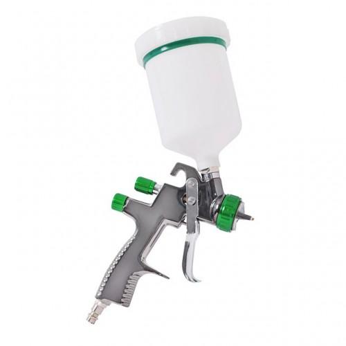 LVLP GREEN NEW Профессиональный краскораспылитель 1,3 мм, верхний пластиковый бачок 600 мл., mах 1,5 INTERTOOL PT-0132, PT-0132, Краскопульты пневматические LVLP
