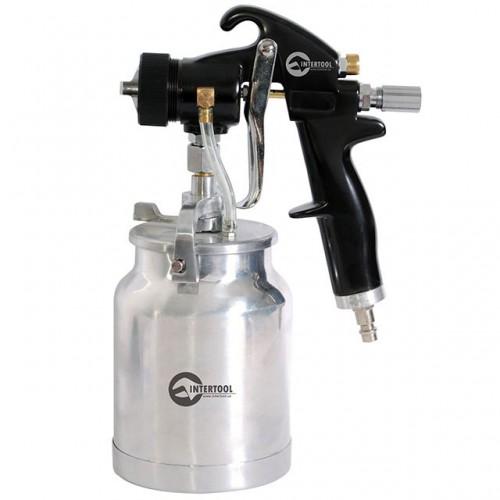 HVLP BLACK PROF Краскораспылитель 1,5 мм, нижний металлический бачок регулируемой подачей давления INTERTOOL PT-0214, PT-0214, Краскопульты пневматические HVLP