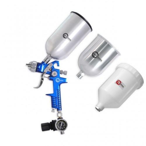 HVLP BLUE PROF KIT Краскораспылитель 1,7 мм, с регулятором давления, тремя бачками (2-метал 800 / 600) INTERTOOL PT-1506, PT-1506, Краскопульты пневматические HVLP