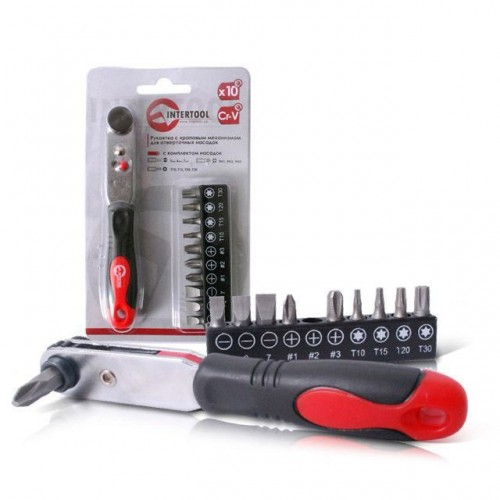 Рукоятка с храповым механизмом для отверточных насадок с комплектом насадок 10 ед Cr-V INTERTOOL VT-0105 в интернет магазине ToolStore
